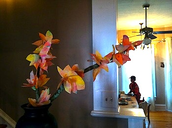 coffee filter fall leaves on a branch