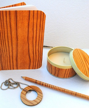 Silvia Chenault faux bois gifts - notebook, tin, pencil, and necklace