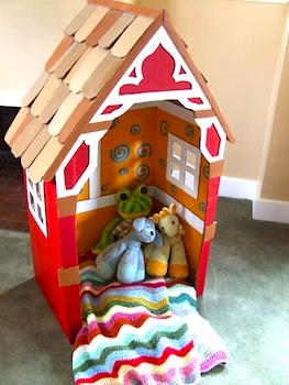 Michele Made Me cardboard box playhouse