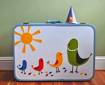 Curly Birds vintage suitcase remake