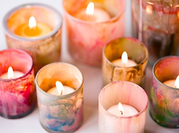 DIY Weddings painted votives