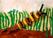 Art For Small Hands cut paper and painting bugs and environment caterpillar