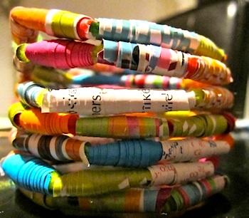 Meri Cherry paper bead bracelets