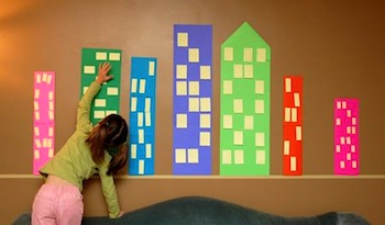 Frugal Family Fun post-it cityscape