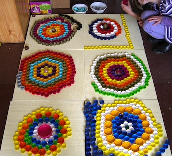 recycled plastic lid mosaic art and craft