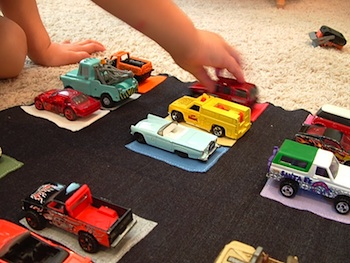 Helping Little Hands matching car and parking lot