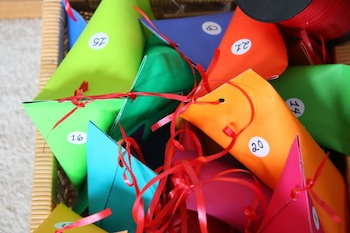 homemade advent calendar paper pouches cones