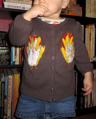 toddler handprint turkey applique diy