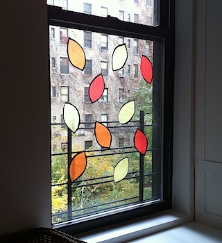 Upper West Side Mom fall leaves stained glass