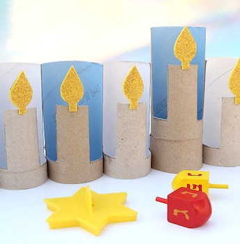 Creative Jewish Mom tp tube hanukah menorah