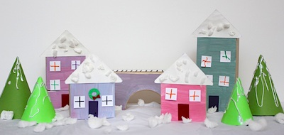 Toddler Approved! snow village and rice krispie houses 2