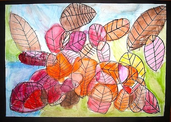 Use Your Coloured Pencils autumn leaves drawings