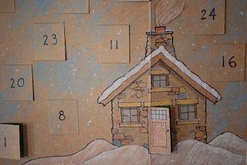 homemade advent calendar cardboard box with windows