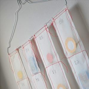 homemade advent calendar sewn parchment paper