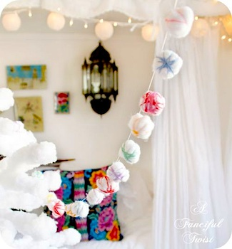 A Fanciful Twist cotton ball garland