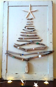 Paint Cut Paste driftwood christmas tree