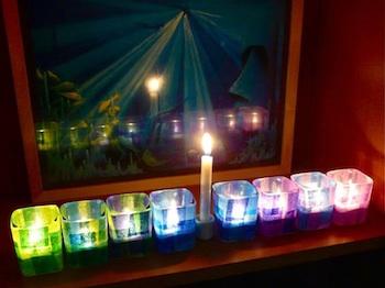 Craftzine colorful menorah