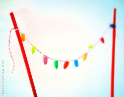 Q-tips minature light garland cake topper