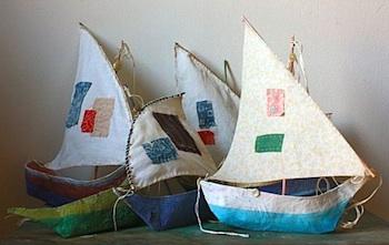 Ann Wood papier mache sail boats
