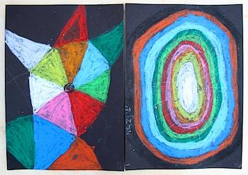 Creative Jewish Mom pastels on black paper