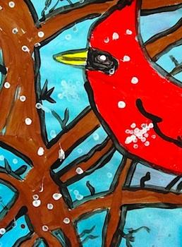 Deep Space Sparkle cardinal in winter