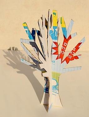 Creative Jewish Mom recycled 3D winter tree