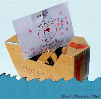 Last Minute Mel cardboard pirate ship for valentines