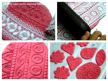 Mommy Labs lace print playdough hearts