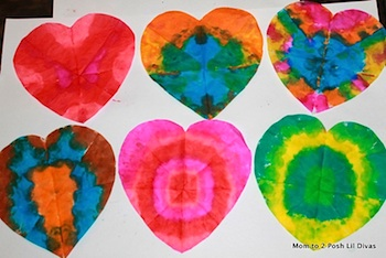 Mom To 2 Posh Lil Divas valentine crafts tie dye hearts