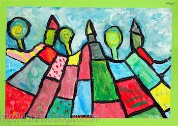 Kids Artists patchwork landscape