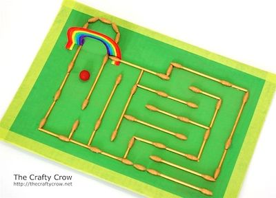 The Crafty Crow q-tip marble maze over view