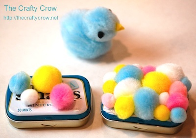 The Crafty Crow easter treat altoid tin pompom placement