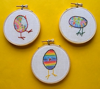 Wendi Gratz easter craft colored and embroidered chick