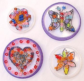 Creative Jewish Mom plastic lid bead mosaic