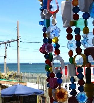 Beach Petals plastic bottle cap garland