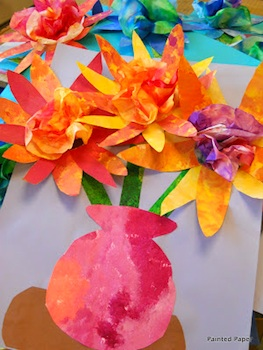 Painted Paper coffee filter flower bouquet pictures