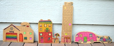 Ikat Bag flat cardboard houses