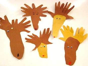 Sewing School reindeer hand and foot prints