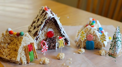 Toddler Approved! snow village and rice krispie houses 1