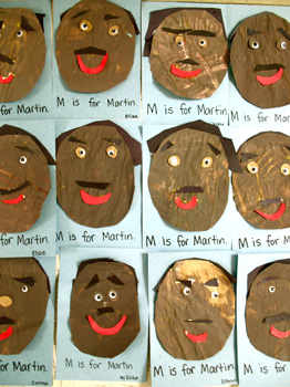 Preschool Daze many faces of Martin Luther King Jr. craft for kids