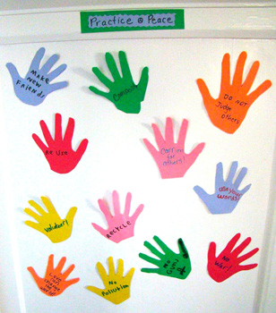 Goose And Binky paper hand print ideas for peace