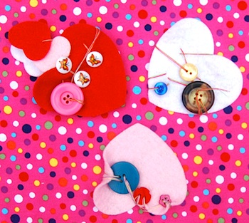 At Home With Ali learning to sew with hearts and buttons