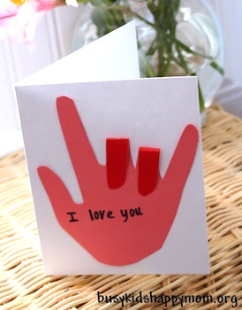 Busy Kids = Happy Mom i love you sign language card