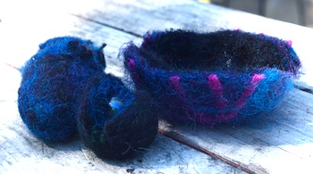 Clean wet felted mini vessels