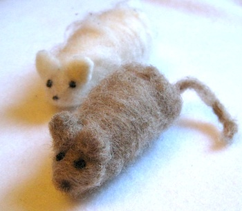The Sewn Natural Studio wet felted mouse