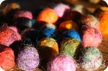 5 Orange Potatoes wool roving balls