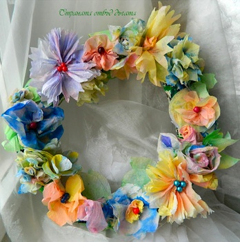 The Country Beyond The Rainbow paper towel flower wreath
