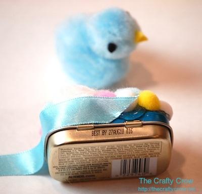 The Crafty Crow easter treat altoid tin ribbon wrap