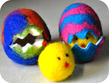 Rosy ~ Posy wet felted easter eggs with chick