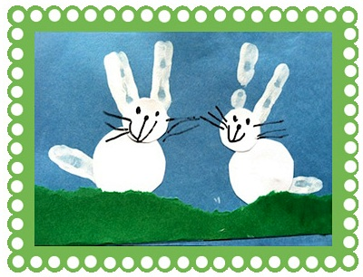 Mama's Little Muse handprint bunnies